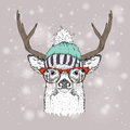 Christmas card with deer in winter hat. Merry Christmas lettering design. Vector illustration Royalty Free Stock Photo