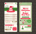 Christmas Card Design Boarding Pass Ticket Template Royalty Free Stock Photo