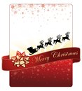 Christmas card design on red background with golden snowflakes and Santa's flying sleigh Royalty Free Stock Photo
