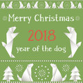 Christmas card with dogs, made in the style of origami.