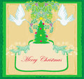 Christmas card with doves and mistletoe illustration Stock Image
