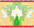 Christmas card with doves and mistletoe illustration Stock Images