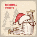 Christmas card.Drawing image of successful fishing Royalty Free Stock Photo