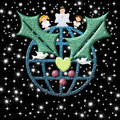 Christmas card, earth with peace symbols Christmas Angel and ch Royalty Free Stock Photo