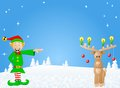 Christmas card with elf and reindeer vector illustration of a Royalty Free Stock Photo