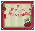 Christmas card with feliz navidad eco background on recycled kraft paper Royalty Free Stock Images