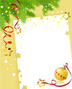 Christmas card with a festive branch and a ball vector illustration Stock Photos