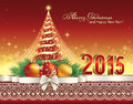 Christmas card with 2015 and festive Christmas tree Royalty Free Stock Photo