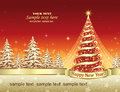 Christmas card with a festive Christmas tree Royalty Free Stock Photo