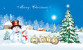 Christmas card with a festive Christmas tree and snowman Royalty Free Stock Photo