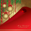 Christmas card with fir tree and balls Stock Image