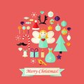 Christmas card with flat icons set and angel red illustration of Stock Image