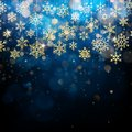 Christmas card with foiled gold snow flake. Golden decoration on blue winter background. EPS 10
