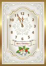 Christmas card in the form of the original clock a gold frame Royalty Free Stock Photo