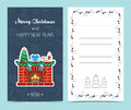 Christmas card on the front and inside. Christmas cheer. Flat design. Vector Royalty Free Stock Photo