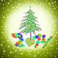 Christmas card funny love tree with hearts in starry background Stock Photos