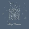 Christmas card with gift Royalty Free Stock Image