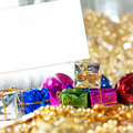 Christmas card with gifts and decoration Royalty Free Stock Photos