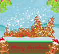 Christmas card with a ginger-bread and funny landscape Royalty Free Stock Photo