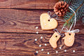 Christmas card gingerbread cookies on wooden background free space for your text Royalty Free Stock Photos