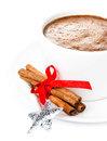 Christmas card with gingerbread man and hot chocolate cinnamon cookie tree branch closeuз easy removable sample text Stock Images
