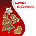 Christmas card with gingerbreads Stock Images