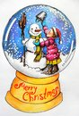Christmas card a girl and a snowman postcard showing putting ucket on top of s head it is snowing the is wearing pink jacket Stock Images