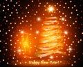 Christmas card with abstract gold Christmas tree