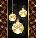 Christmas card with gold balls Stock Images