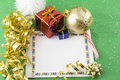 Christmas card gold ribbon and presents Stock Images
