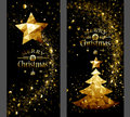 Christmas card with gold star and trees Low Poly Royalty Free Stock Photo