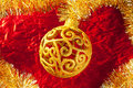Christmas card golden bauble and tinsel Royalty Free Stock Images