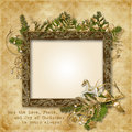 Christmas card with golden garland frame and warm wishes vintage background beautiful decorations Royalty Free Stock Image