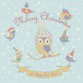 Christmas card and happy new year greeting with cute birds and owl in winter caps cartoon style Royalty Free Stock Images