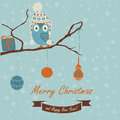 Christmas card and happy new year greeting with cute owl in winter caps sitting on branch cartoon style Stock Photo