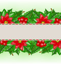 Christmas card with holly berry and poinsettia illustration Royalty Free Stock Photos