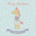 Christmas card with horse and happy new year greeting funny holding giftbox Stock Images