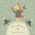 Christmas card with horse and happy new year greeting funny holding tree and giftbox Royalty Free Stock Photo