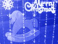 Christmas card with horse stock photos white on blue background Royalty Free Stock Photo