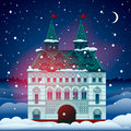 Christmas card with house Royalty Free Stock Images