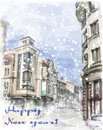 Christmas card with illustration of city street watercolor style Stock Image