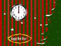 Christmas card illustration with a fir with snow and clock showing a second to midnight on red and green striped background Stock Images