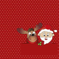 Christmas card illustration of with santa claus and reindeer Stock Photography