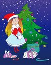 Christmas card illustration snow maiden near the tree with gifts Royalty Free Stock Photos
