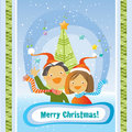 Christmas card- kids Royalty Free Stock Photography