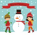 Christmas card with kids and snowman happy Royalty Free Stock Images