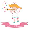 Christmas card with little angel cute Royalty Free Stock Images