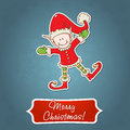 Christmas card with little elf Santa helper Royalty Free Stock Photos