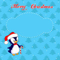 Christmas card with little penguin greeting a on the background of trees Stock Image