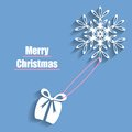 Christmas card merry in blue color with flying snowflake and present Stock Photography
